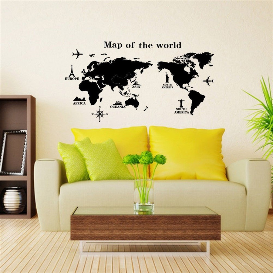 MAP OF THE WORLD REMOVABLE ROOM WALL ART STICKERS VINYL DECALS HOME ...