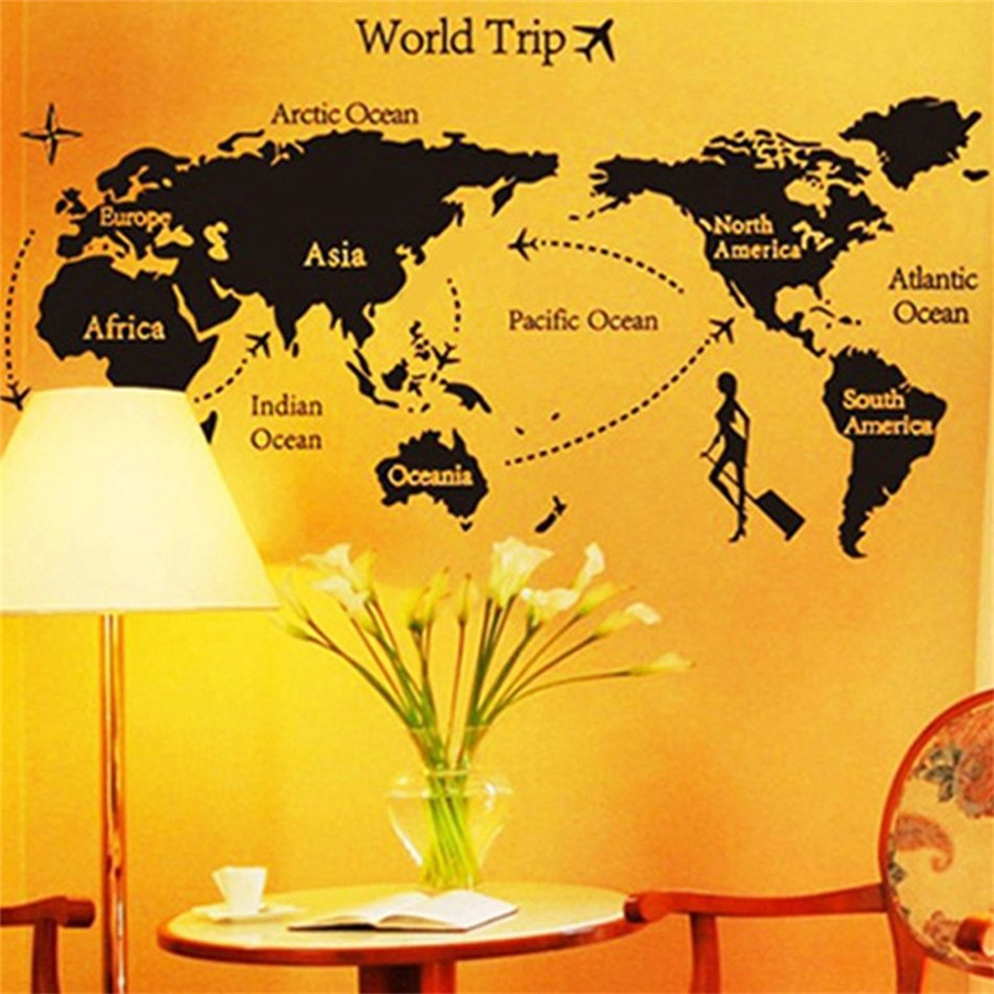 World Trip Travel Map Art Vinyl Wall Stickers Decal Home Decor ...