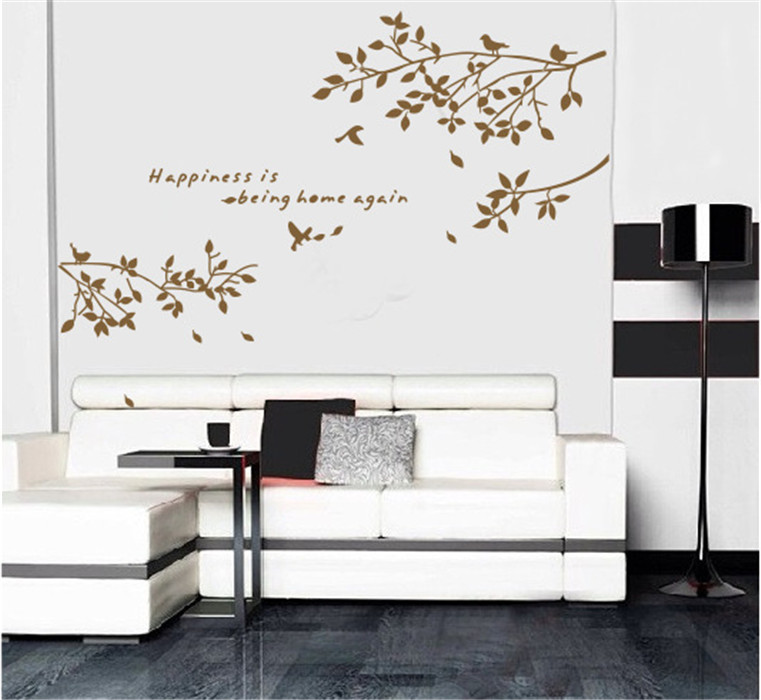 Tree Wall Decals For Living Room : Tree Branches Birds Leaves Home Wall Stickers Living Room ...
