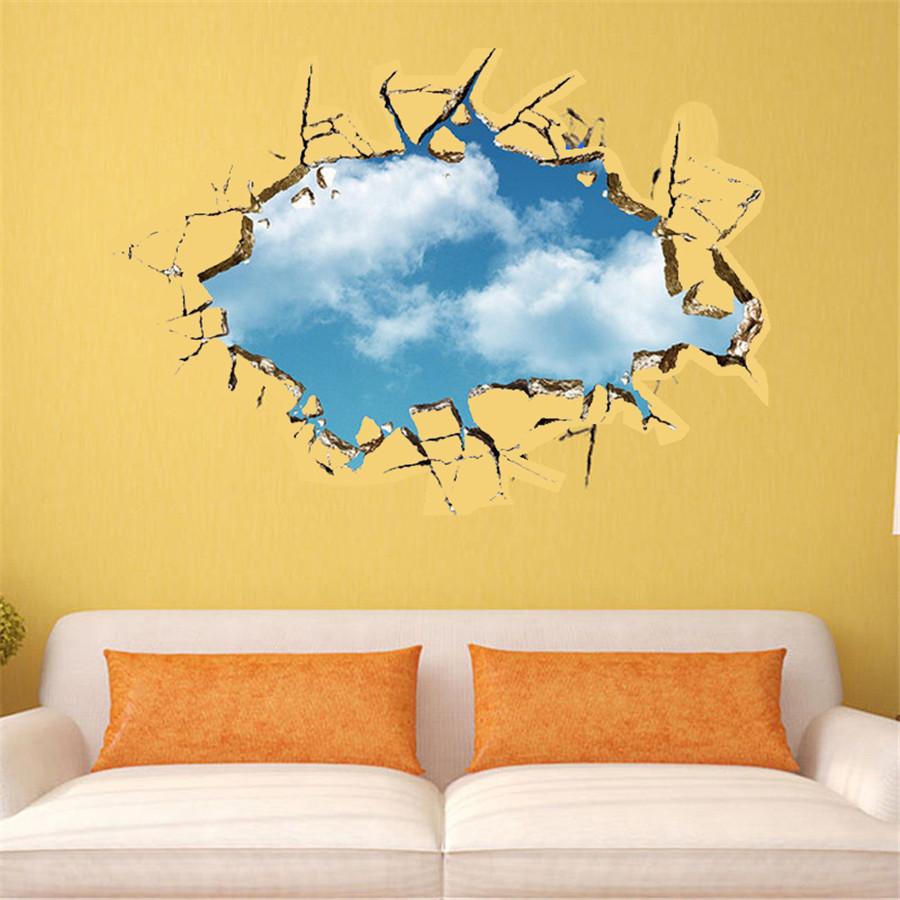 Removable wall sticker 3d blue sky broken wall mural art for Broken wall mural