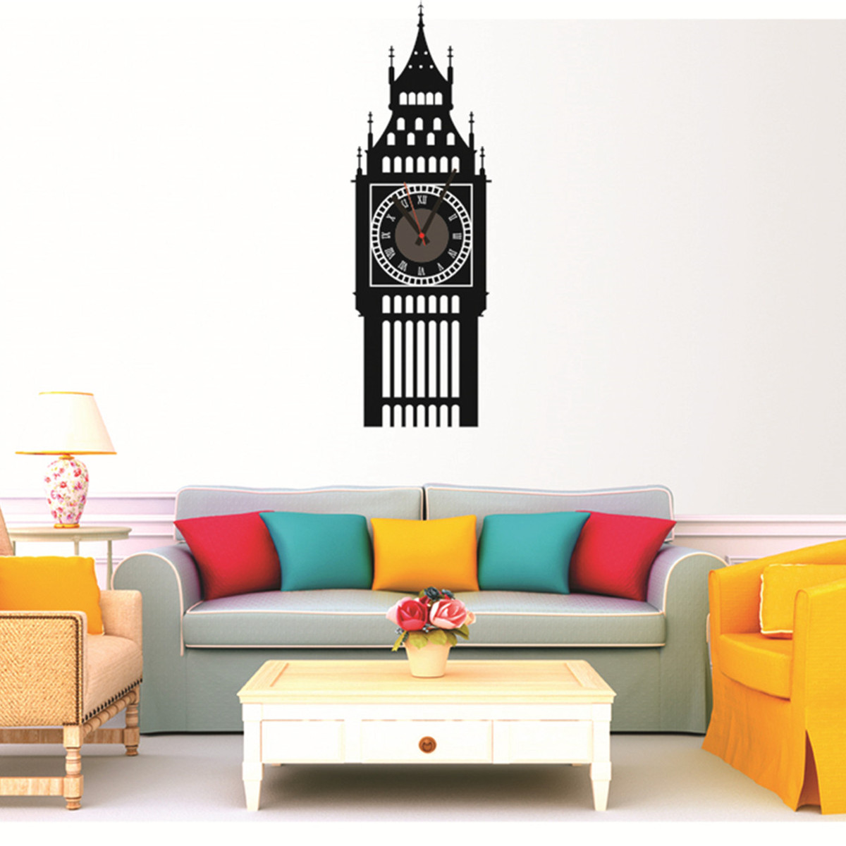 Wall clock living room diy big ben home office room decor for Room decor 3d