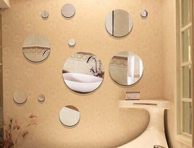 mirror stickers bathroom removable circles mirror style decal vinyl wall 13675