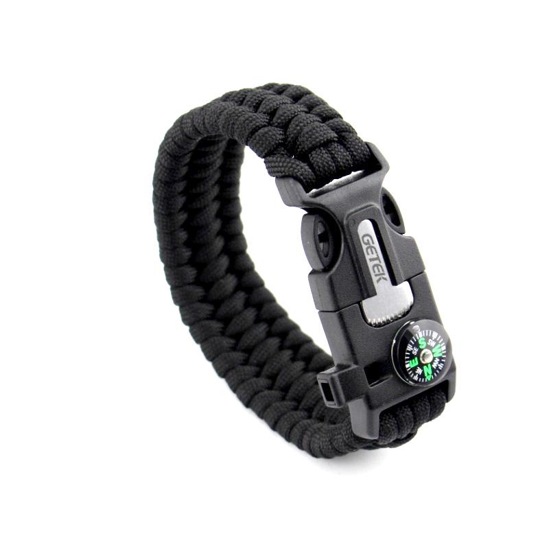 Flint Fire Starter Necklace: 5in1 Paracord Survival Bracelet Compass/Flint/Fire Starter