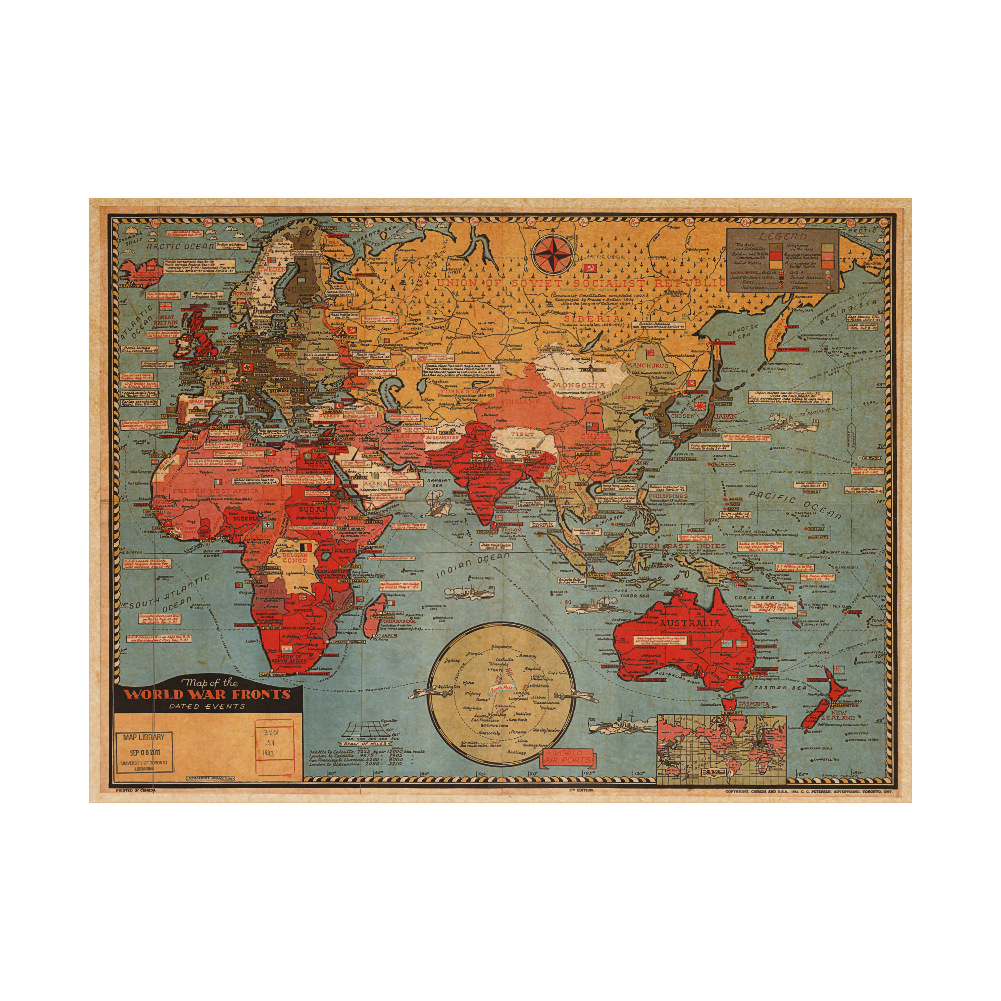 Vintage map of the world wall poster decor poster antique for Antique world map wall mural