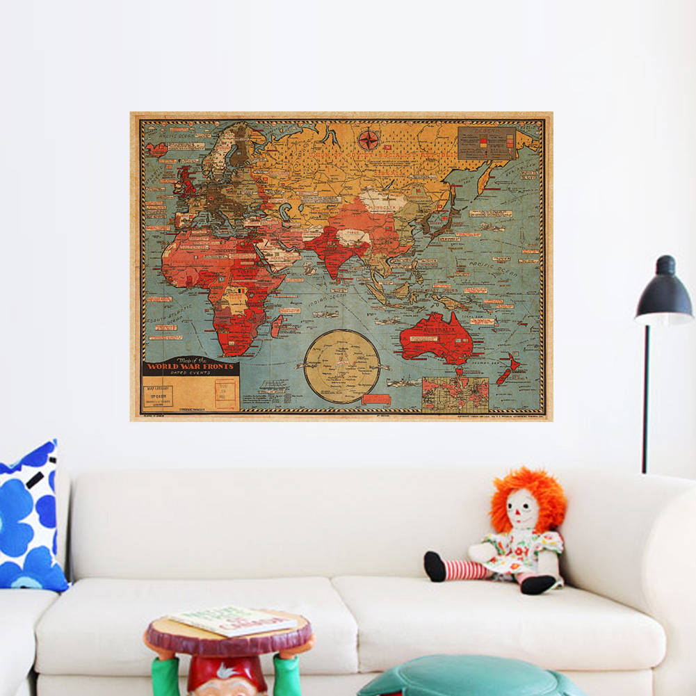 Retro World Map Removable Wall Vintage Photo Living Room