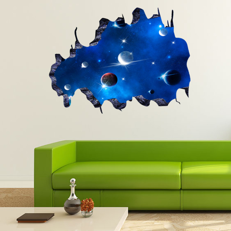 Blue outer space 3d galaxy wall sticker decals removable for Outer space vinyl wall decals