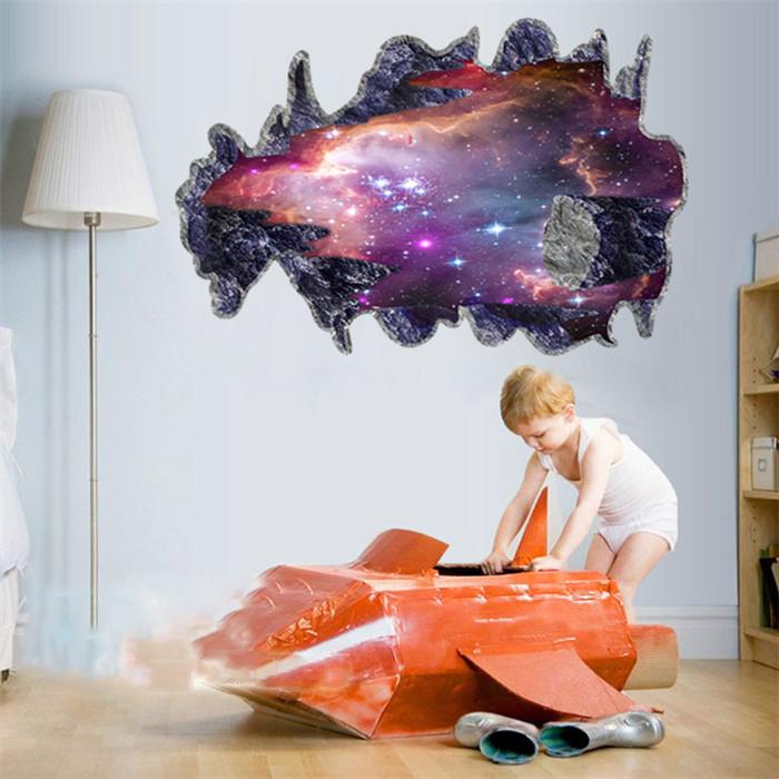 Outer space removable vinyl art home decor 3d galaxy wall for Outer space home decor