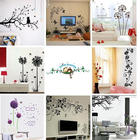 Diy birds tree removable vinyl wall decal stickers home for Diy family tree wall mural
