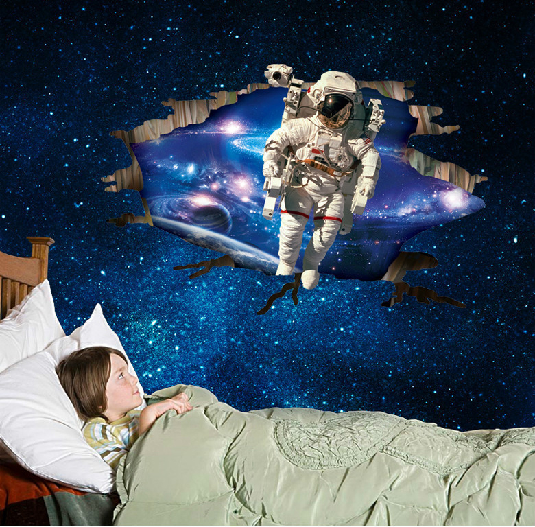 3d outer galaxy space astronauts removable home room wall for 3d outer space