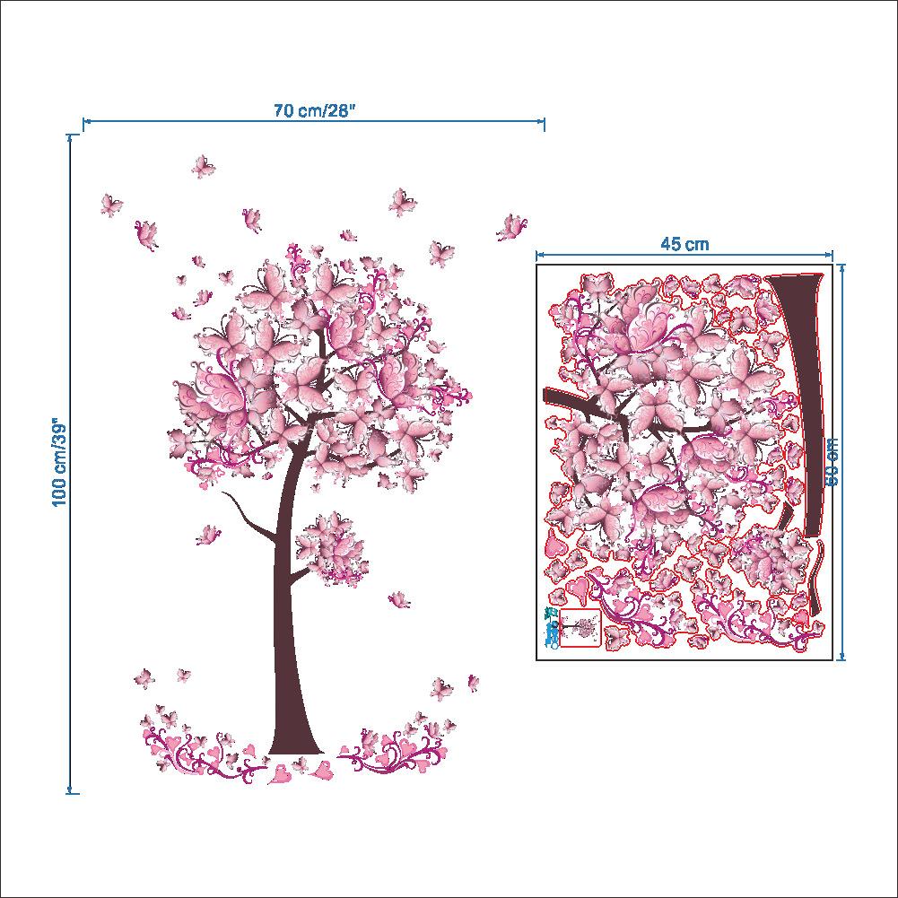 pink butterfly tree flowers vinyl wall sticker decal diy