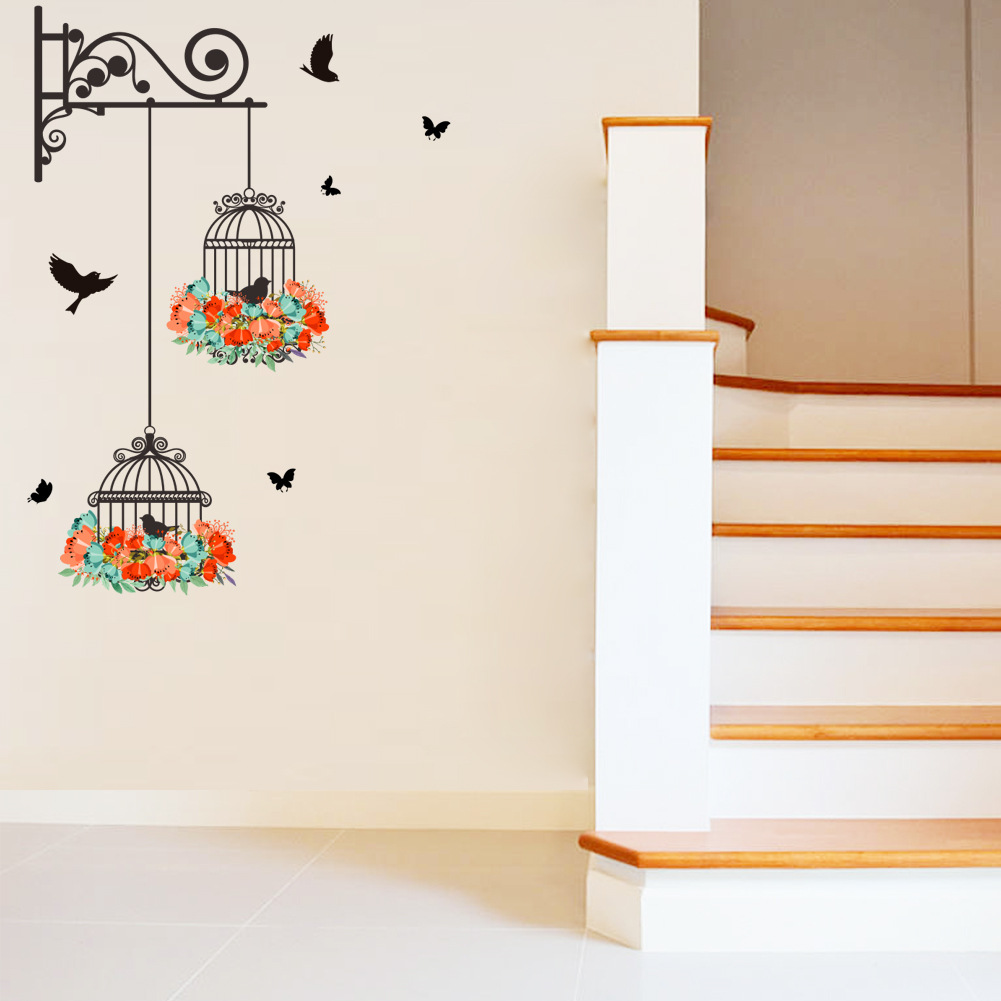 Decorative Wall Paper Art Sticker : Flower vine bird cage wall stickers art decal home decor