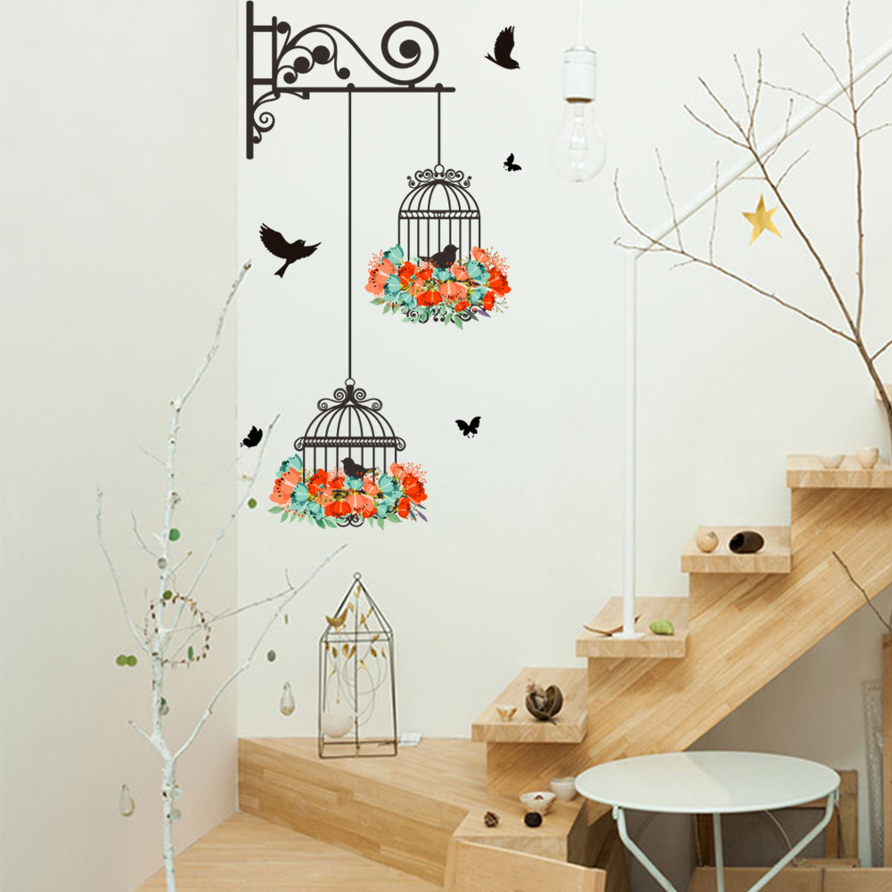 Home Decor Mural Art Wall Paper Stickers ~ Flower vine bird cage wall stickers art decal home decor