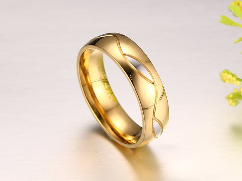Wedding Couples Rings Women Men For Love 18K Gold Plated CZ