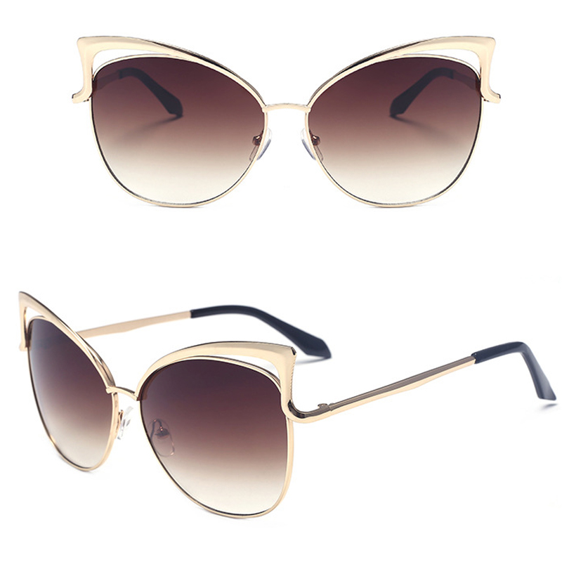 Cat Eye Sunglasses Women Fashion Oversized Frame Metal ...