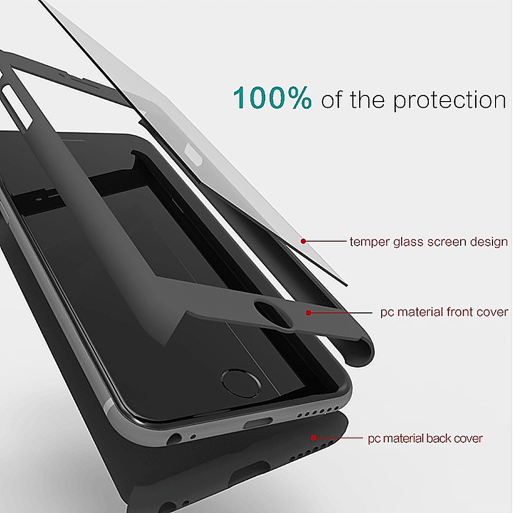 New Hybrid 360 176 Hard Thin Case Tempered Glass Cover For