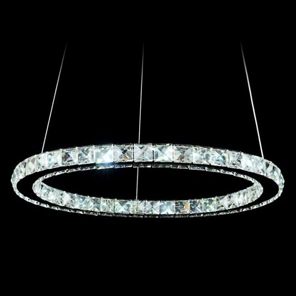 LED Crystal Oval Ring Pendant Light Chandelier Lamp