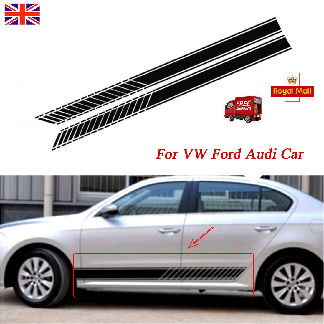 Details about for vw ford audi car bonnet racing viper stripes decals sticker