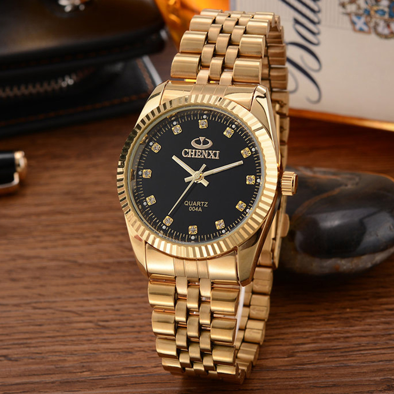 Details About Stainless Steel Quartz Watches Wrist Watch Wholesale Chenxi Gold Watch Men