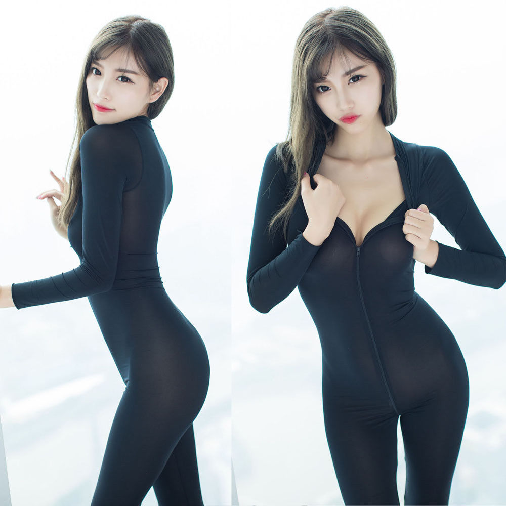33609739bc9 Women Sheer Bodysuit Romper Smooth Fiber Double-end Zipper Long Sleeves  Jumpsuit