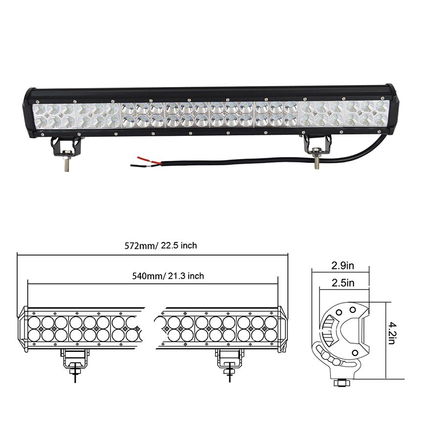 22inch 144w cree led light bar offroad jeep truck boat atv