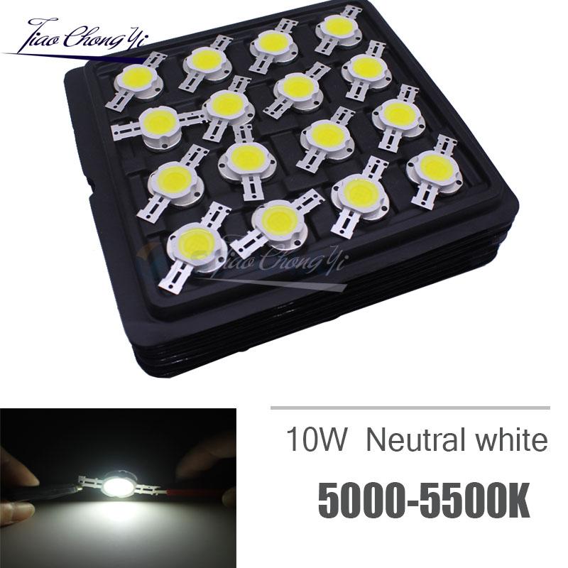 50pcs Round 10W Neutral white 4000-4500k LED High Power led light bulb DC 9-12V