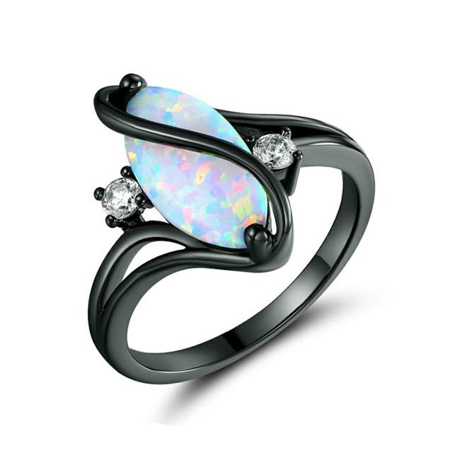 Fashion Blue Round Fire Opal Black Gold Filled Men Women Wedding Ring Size 6-10