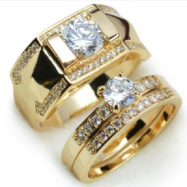 18k Gold Plated Stainless Steel Wedding Couple Ring Engagement