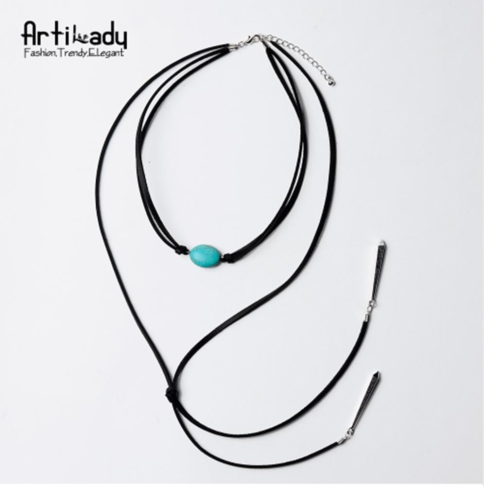 Retro Wood Beads Necklaces Stone Pendant Long Sweater Necklace Women Jewelry GX