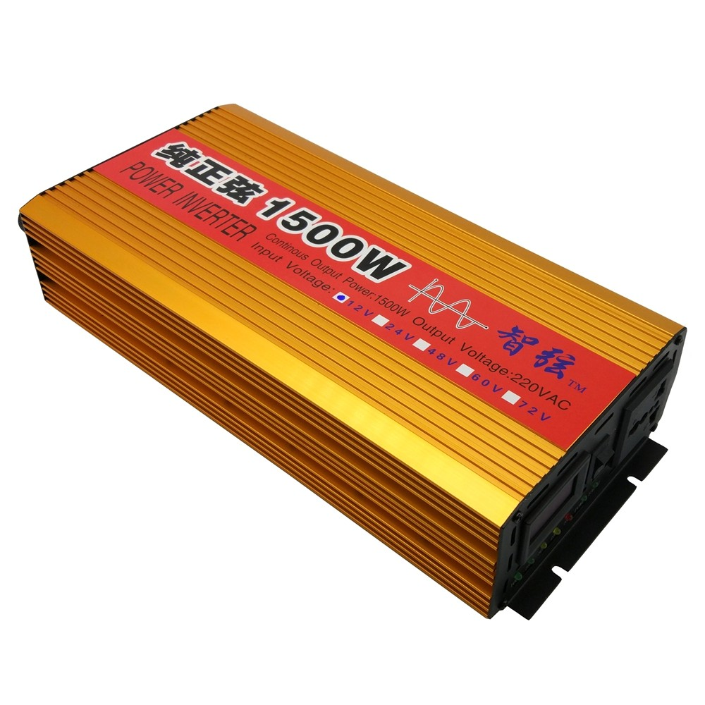 Continuous 1500w Pure Sine Wave Inverter Dc 12v 24v To Ac 220v 50hz Power Supply Is Turned Off Automatically Be The Buzzer Beep Indicator Will Lit Red Until Switch And Switched On
