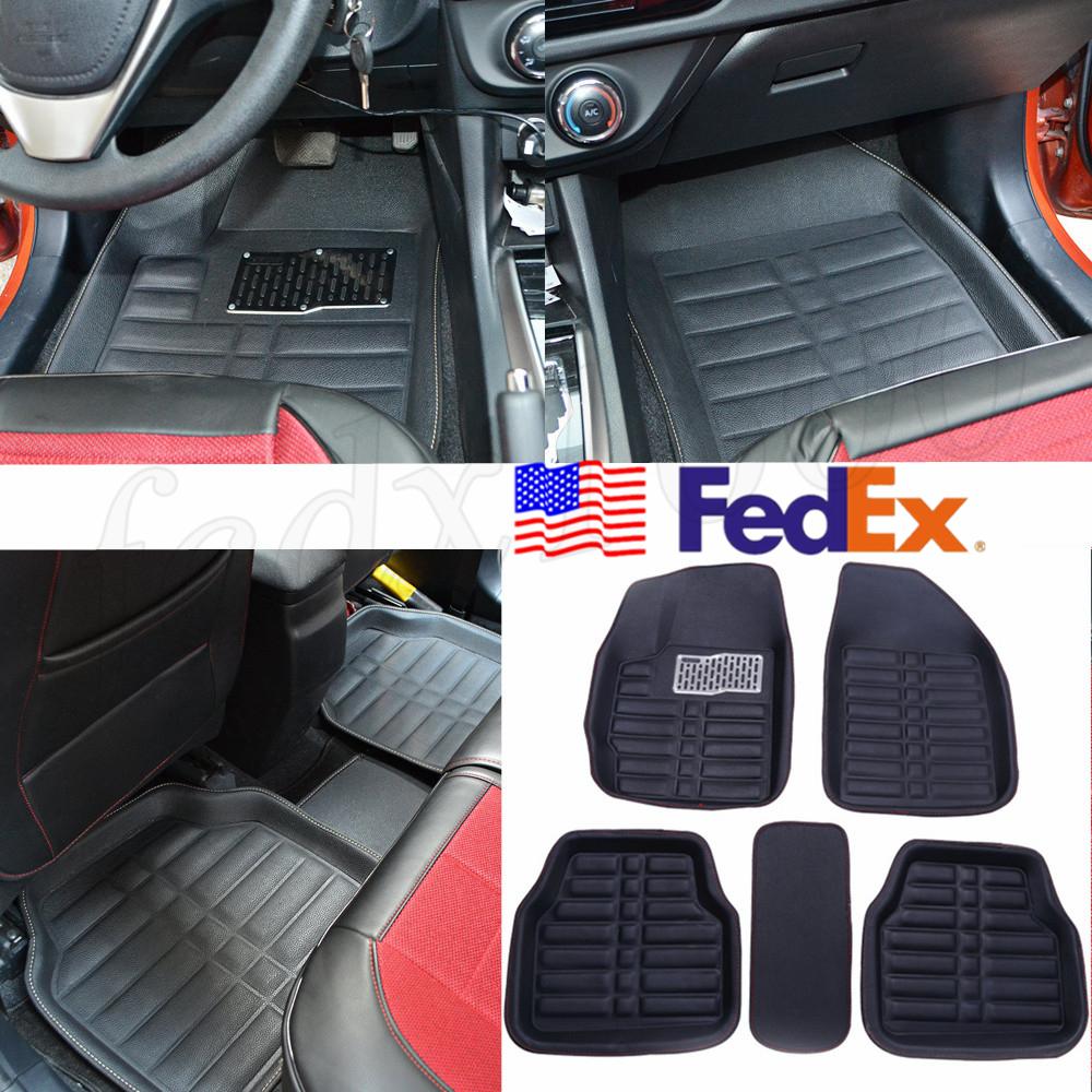 USA Black Car Floor Foot Mat Pad Flooring Carpet PU