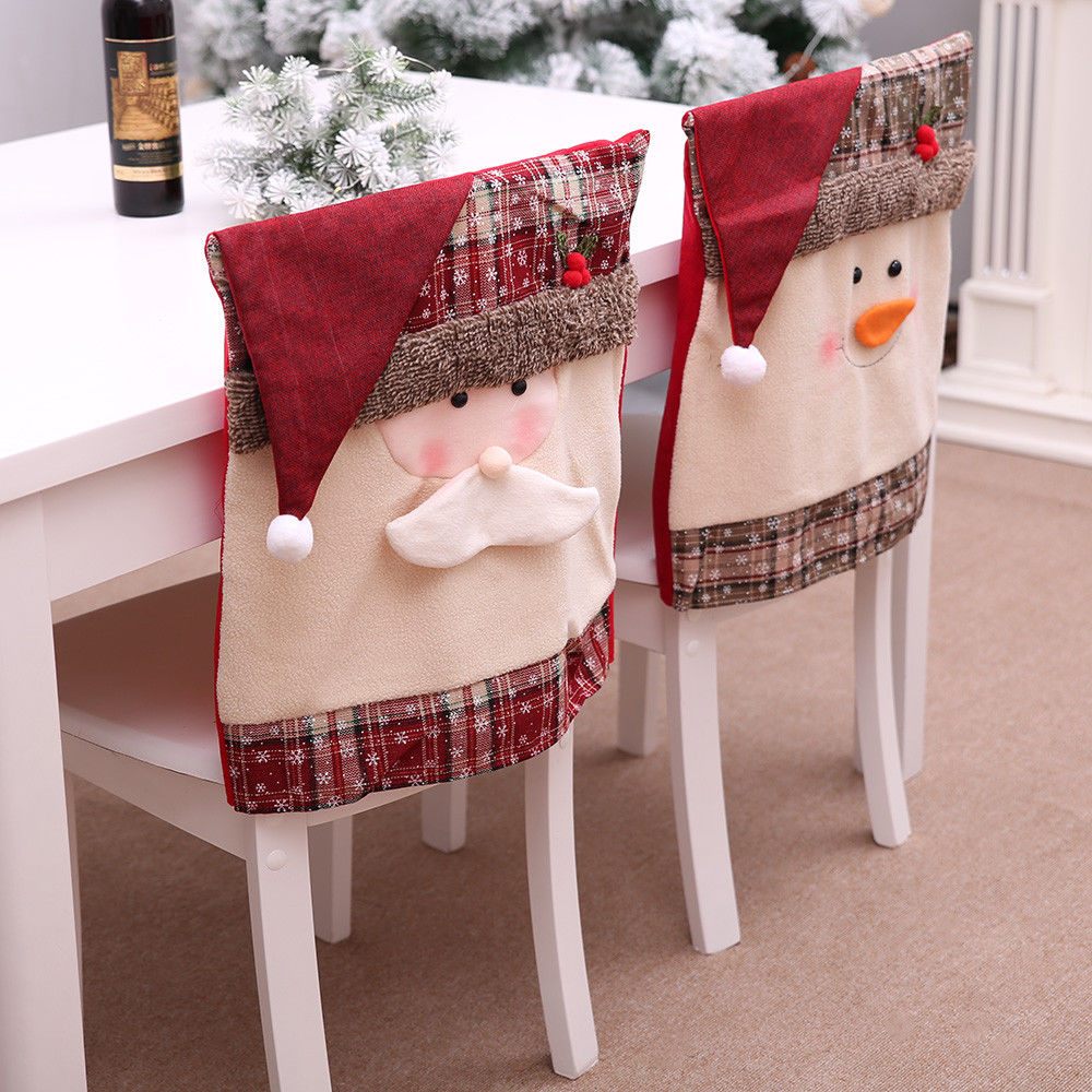Christmas Chair Back Covers.Details About Christmas Chair Cover Santa Claus Snowman Decorations For Home Chair Back Cover