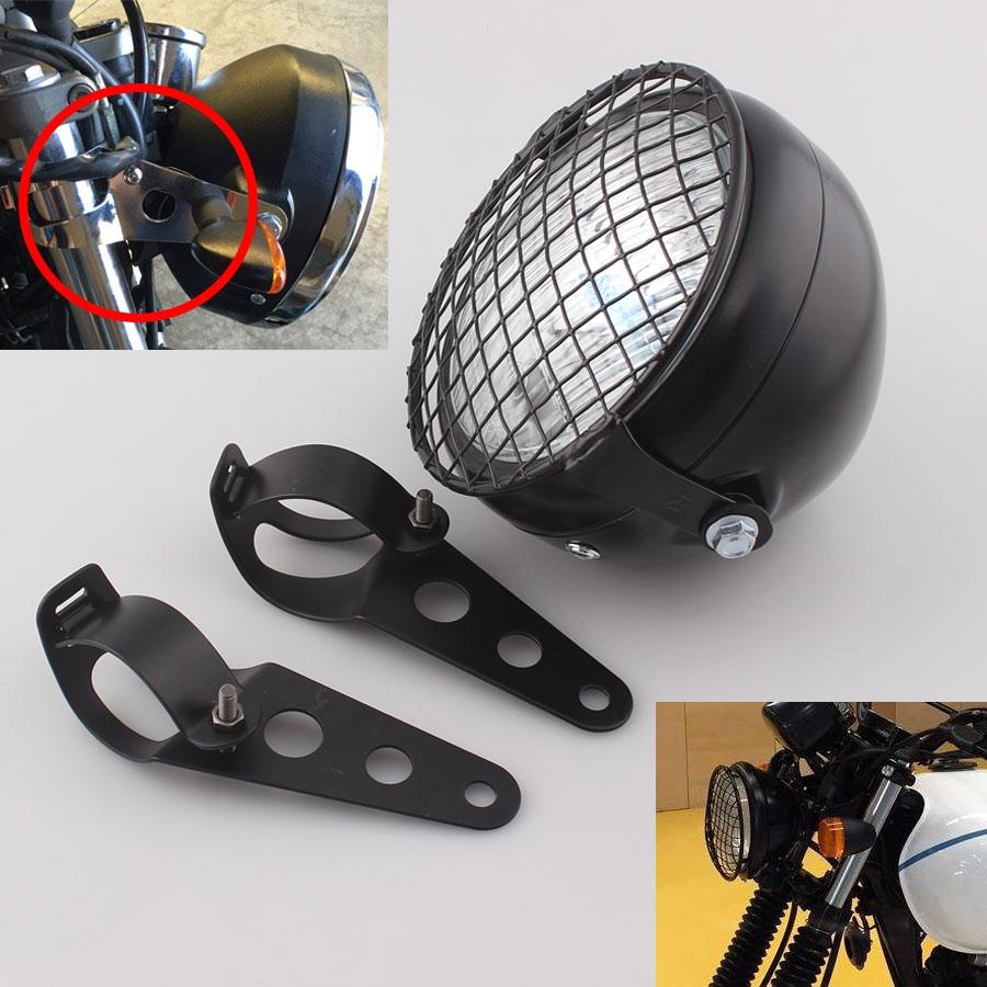 "6.5/"" Motorcycle Grilel Mask Headlight Bracket Mount Kit For Cafe Racer Chopper"
