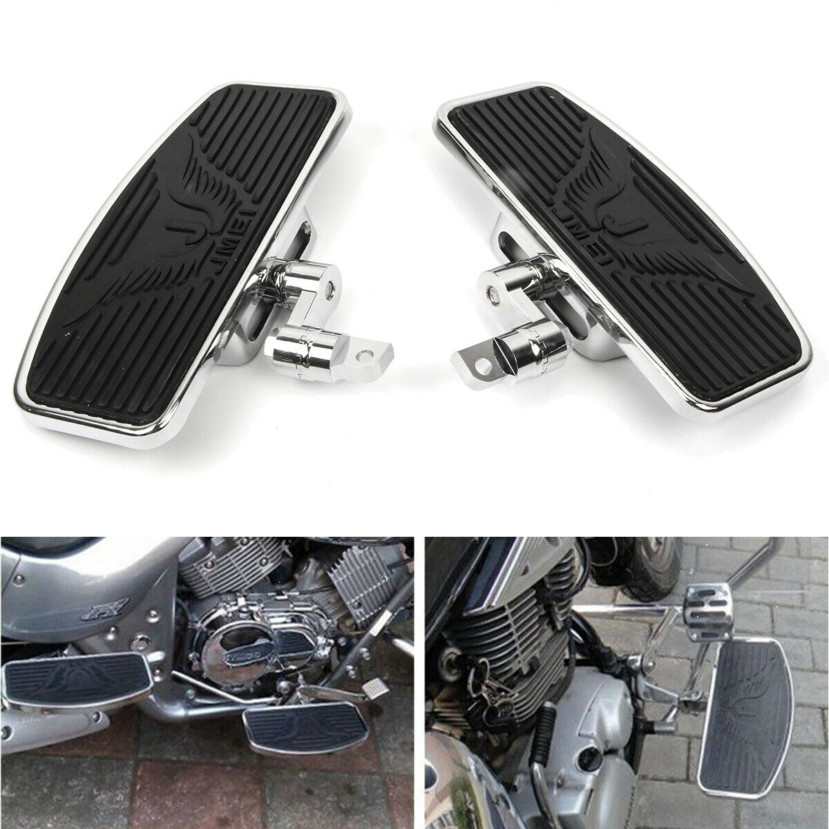 Motorcycle Footboards plating Foot pegs Footrest Footboards For 1986 Harley-Davidson Touring and Softail Models Dyna Sportster 883 1200 Chrome