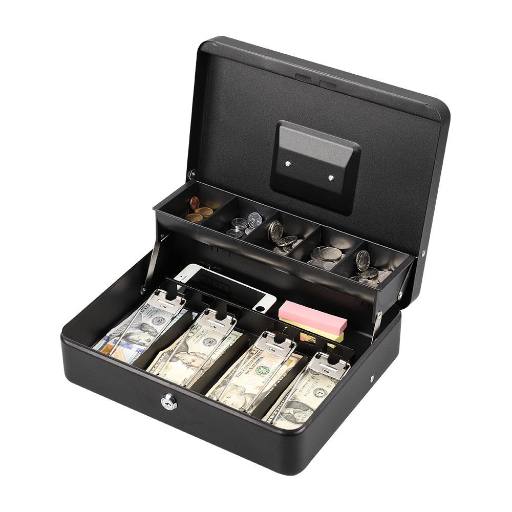 Steel Drawer Safe Key Lock Jewelry Cash Money Security Box Case Storage Safety