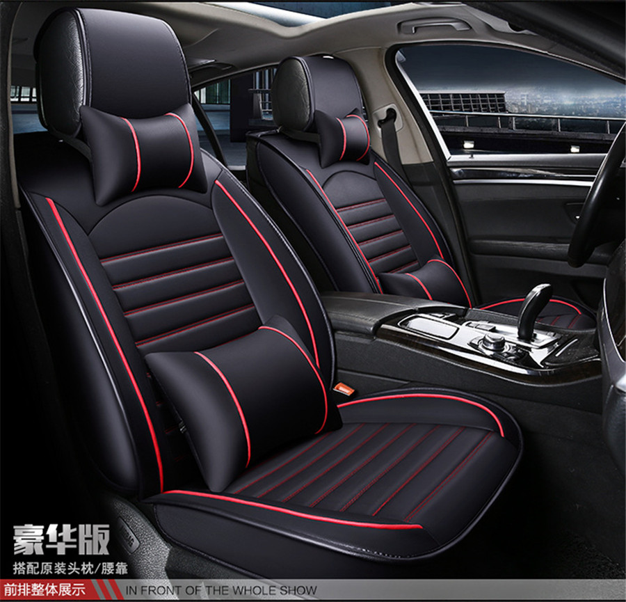 Comfortable PU Leather 5-Seater Car Front Seat Cover Protector Cushion w//Pillows