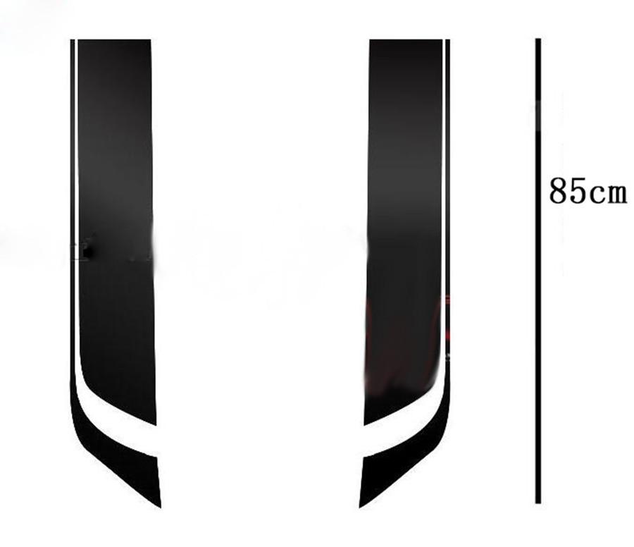 Pair Car Black Racing Sports Stripes Hood Machine Head Cover Vinyl Decal Sticker