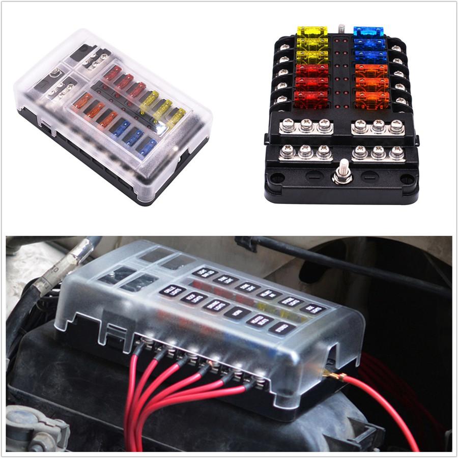 Car Boat Bus 6-Circuit ATC//ATO//ATF Blade Fuse Block 12//24V+12*Fuses 5//10//15//20A