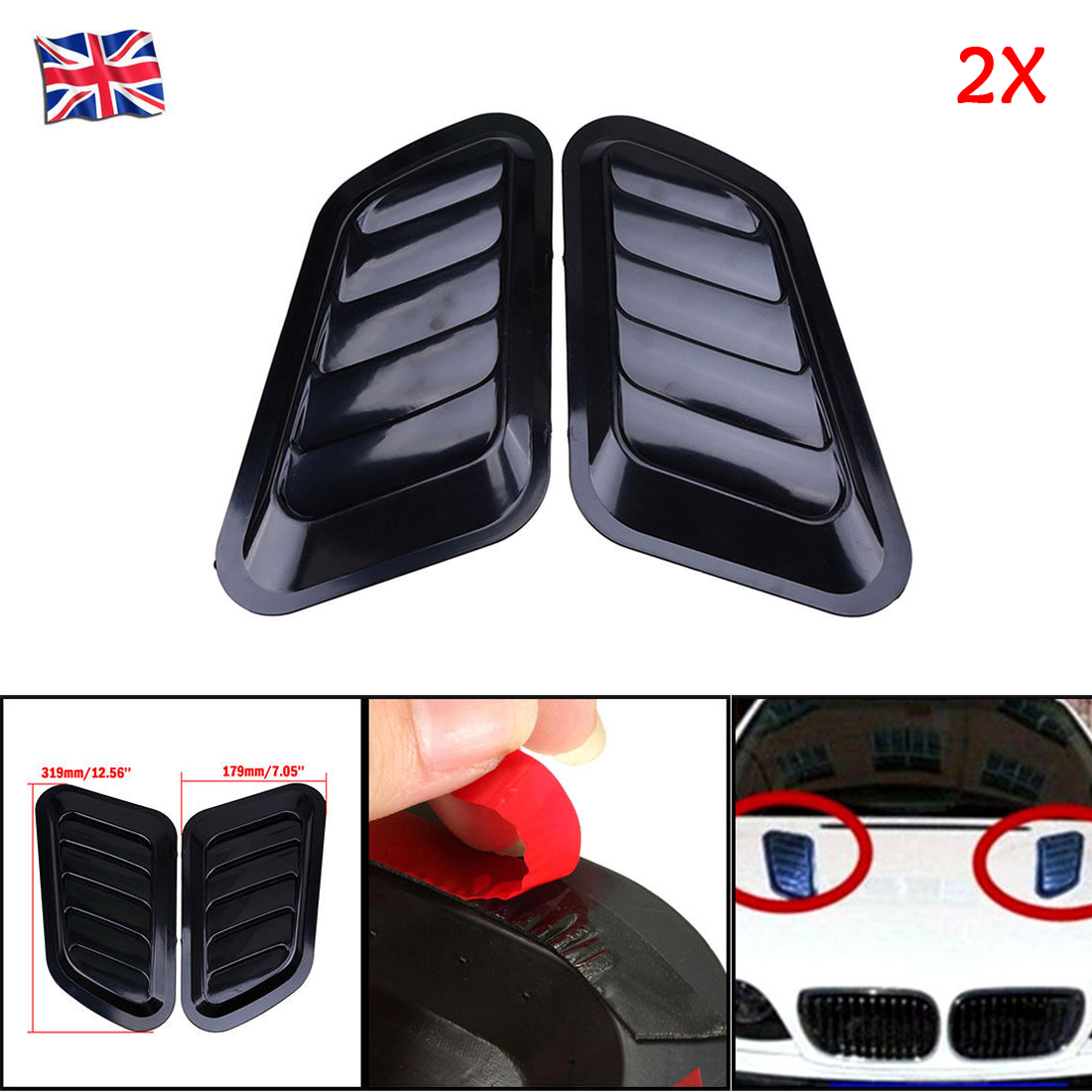 Black Air Flow Vent Hood Universal 2x Car Vents Decorative Air Flow Intake Hood Scoops DIY Style with Double-Sided Adhesive Tape
