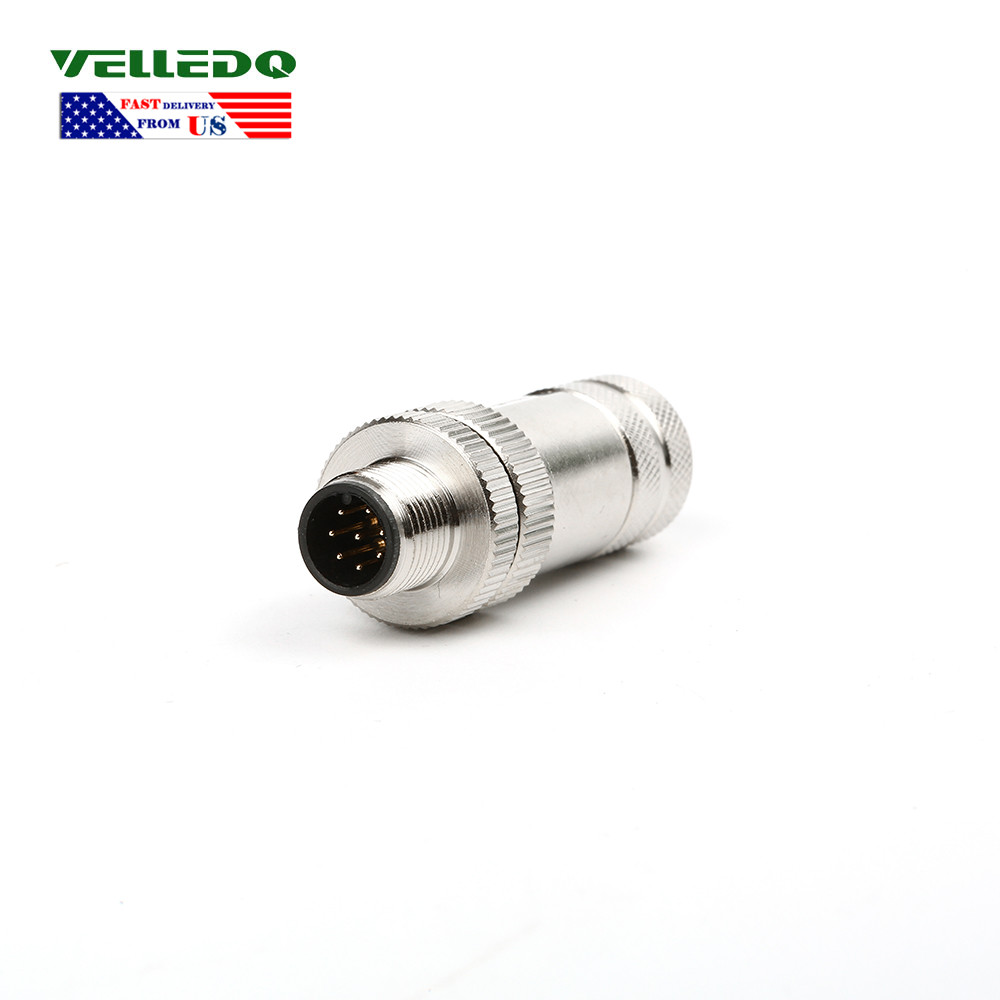 VELLEDQ M12 5PIN Male With 2m Cable Sensor Connector Field-wireable IP67 Black