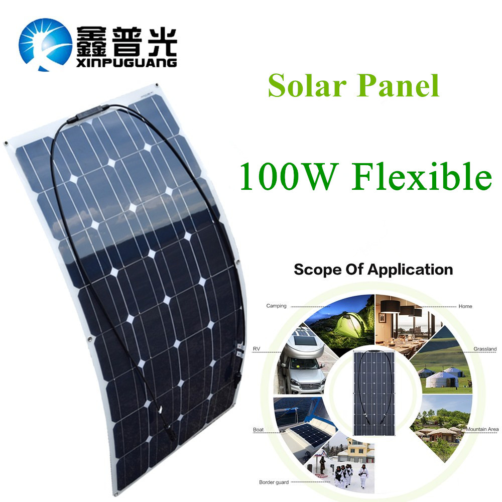 100w 16V Waterproof Solar Panel Mono for Boat RV Car Camping 12V Battery Charger