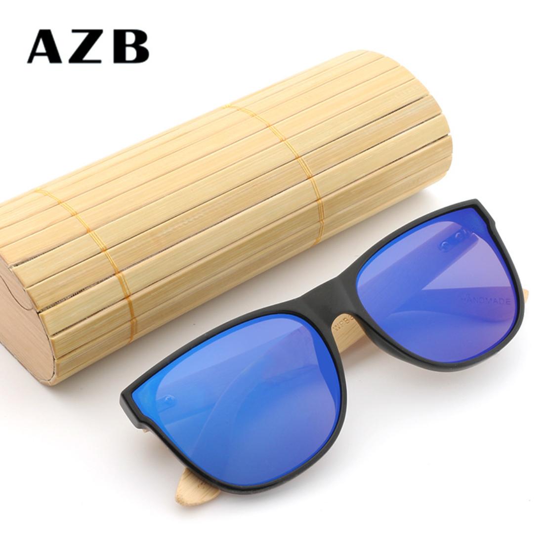 AZB 2018 Herren Polarisierte UV 400 Sonnenbrille Pilotenbrille Bambus retro blau HLcEJhFW