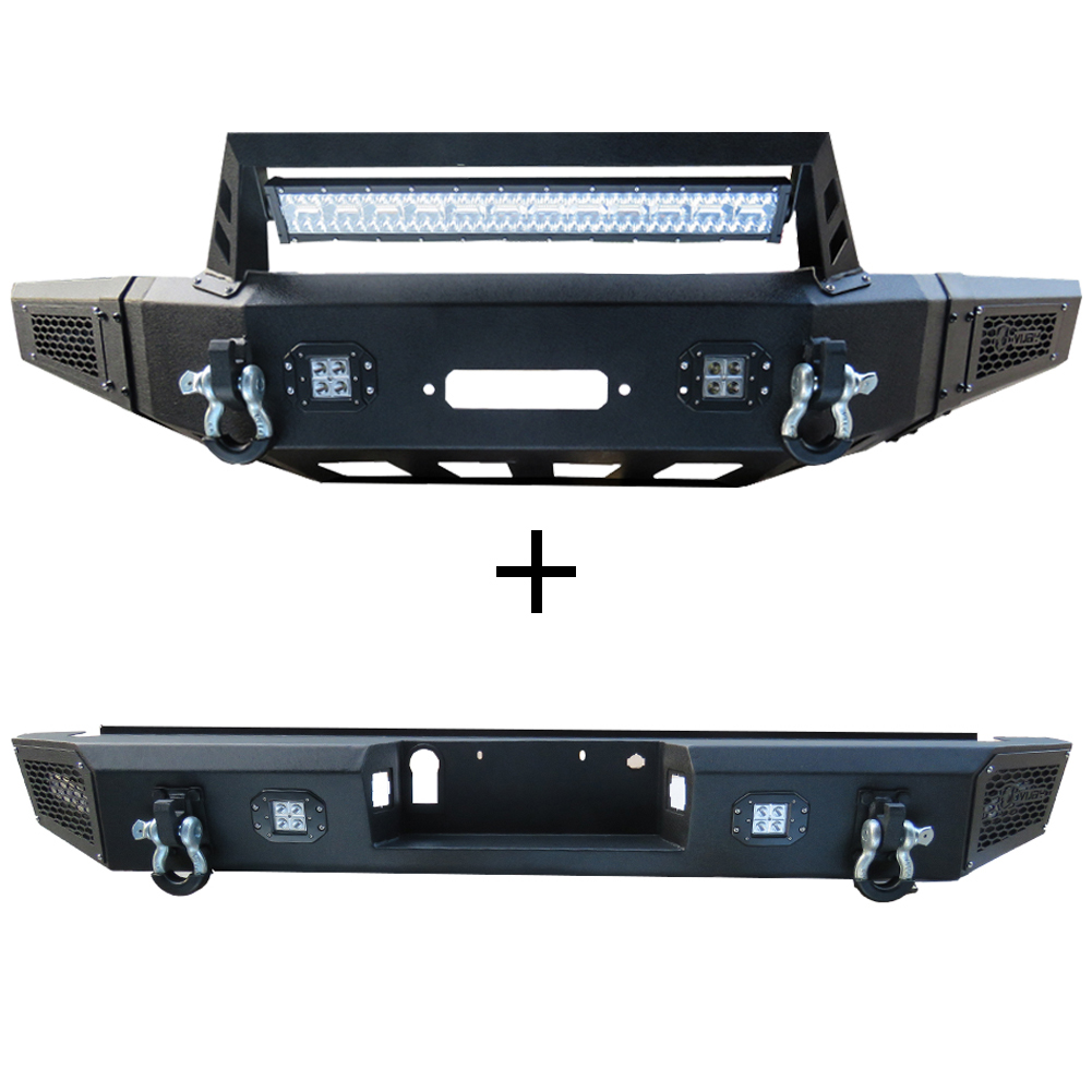 Details About Front Bumper And Rear Bumper With Led Lights Winch Plate Fit 15 17 Ford F150