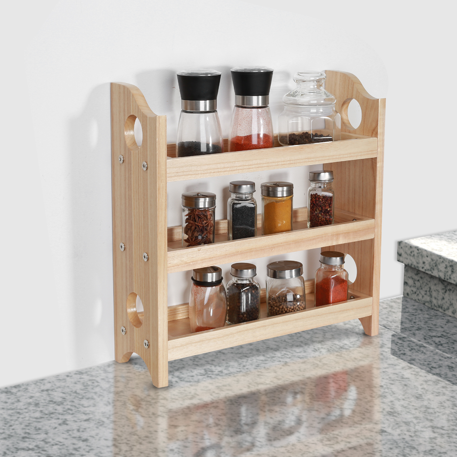 Details about 3-Tier Wooden Spice Rack Wall-Mount Holder Bathroom Kitchen  Dining Countertop