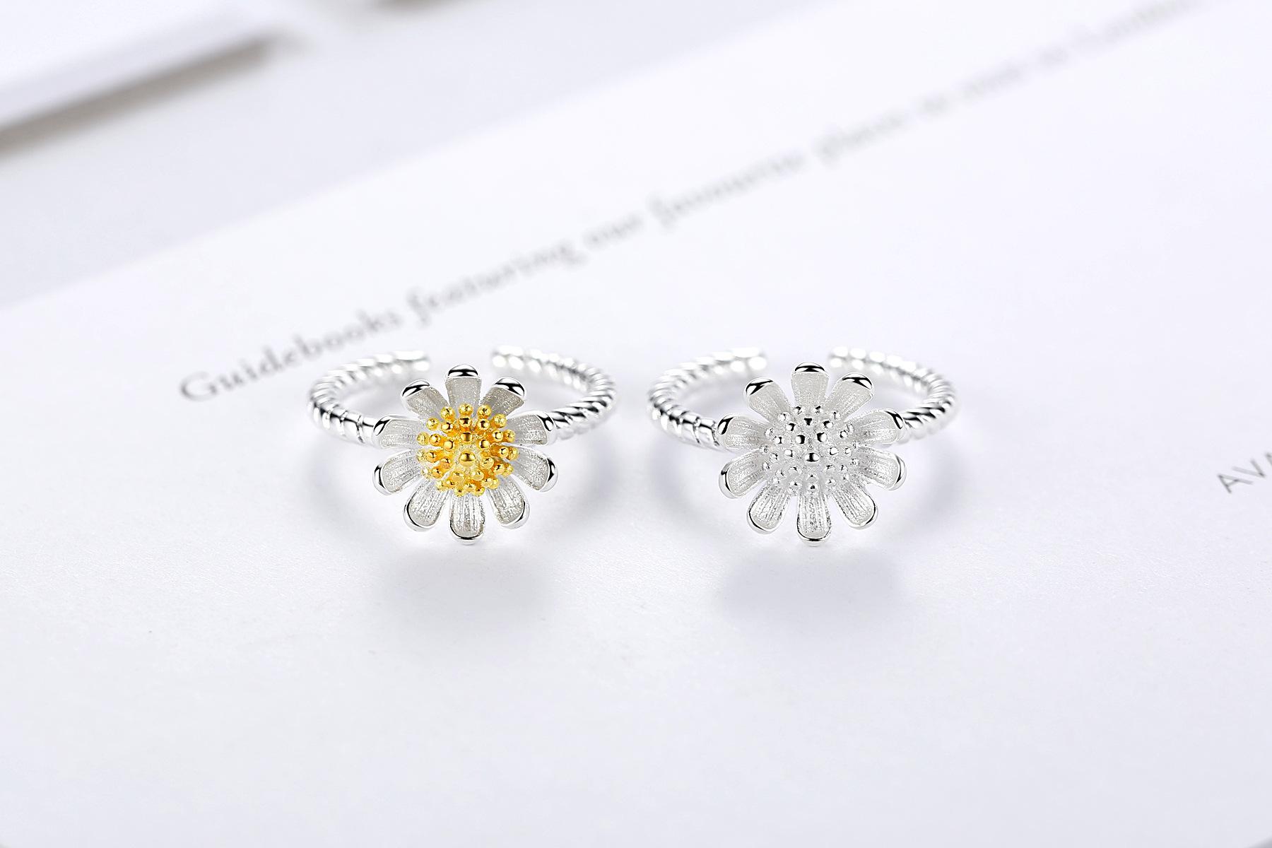 925 Sterling Silver Anillo Abierto Flor de Sol de Margarita para Mujer Joyas