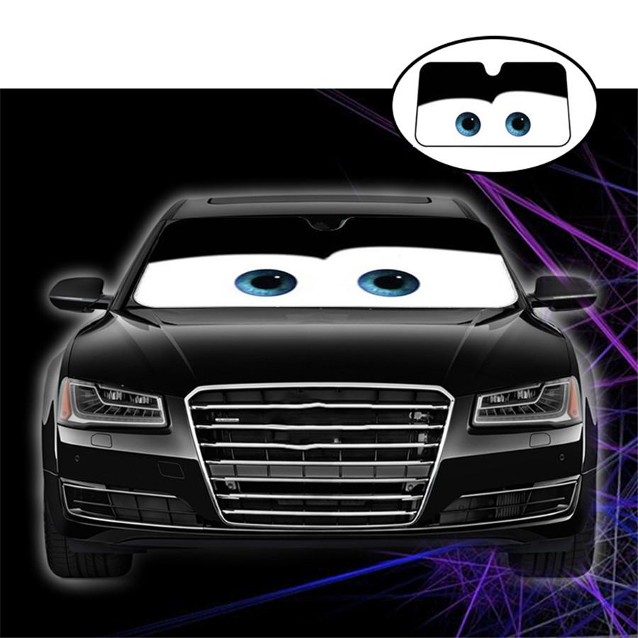 Black Eye Pattern Car Windshield Sunshade Aluminium Foil Heat Blocking Sun Visor