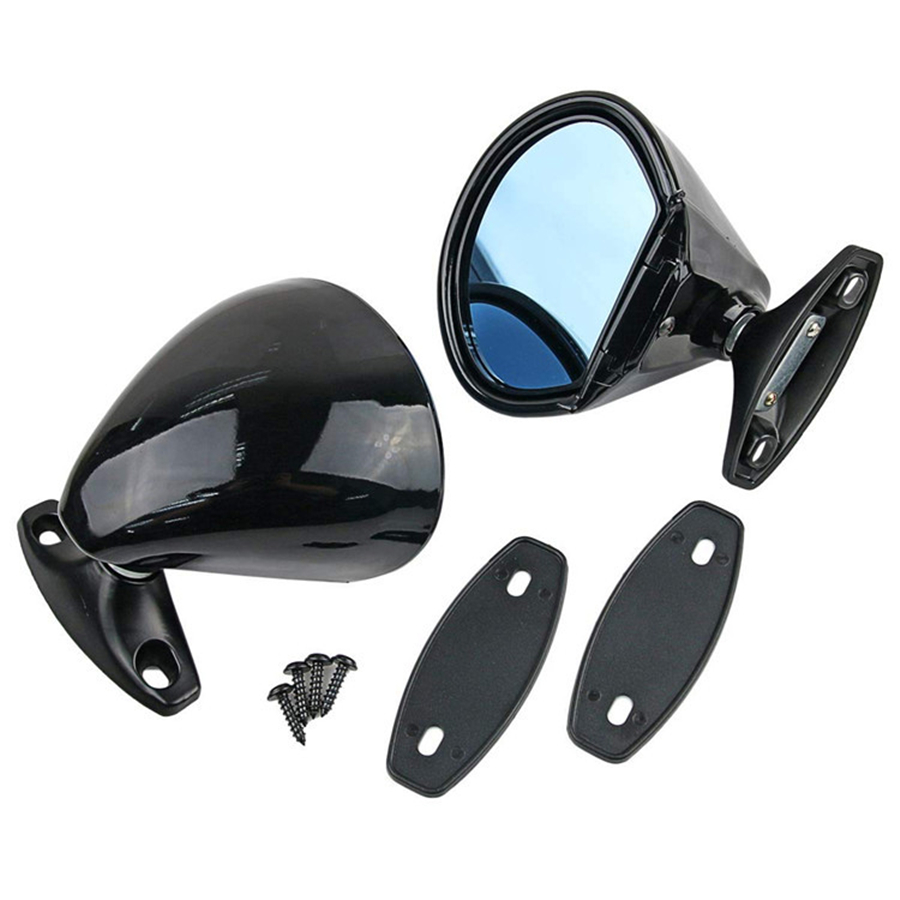1 Pair Matte Universal Classic Car Door Wing Side View Plane Mirror Abs Hot Sale