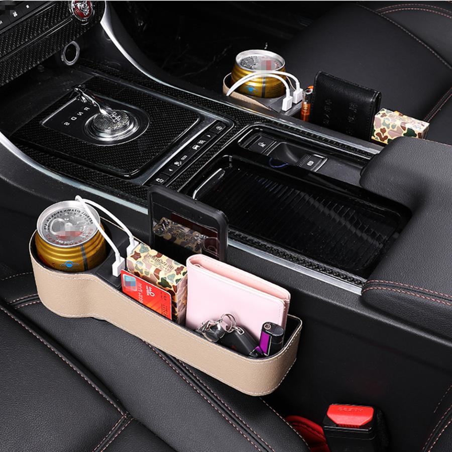 Wallets for Mobile Phones Cards Coins,Beige,2PCS Seat Gap Storage Box Left /& Right Car Seat Side Gap Filler Seat Crevice Slit Pockets Leather Storage Organizer Keys