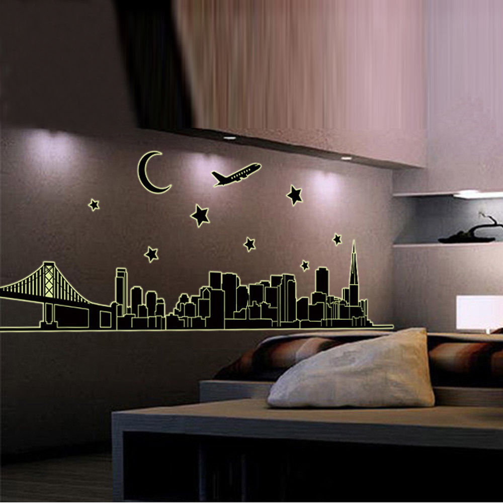 New York Skyline City Night Glow In The Dark Removable Wall Sticker Decal  Art Part 61