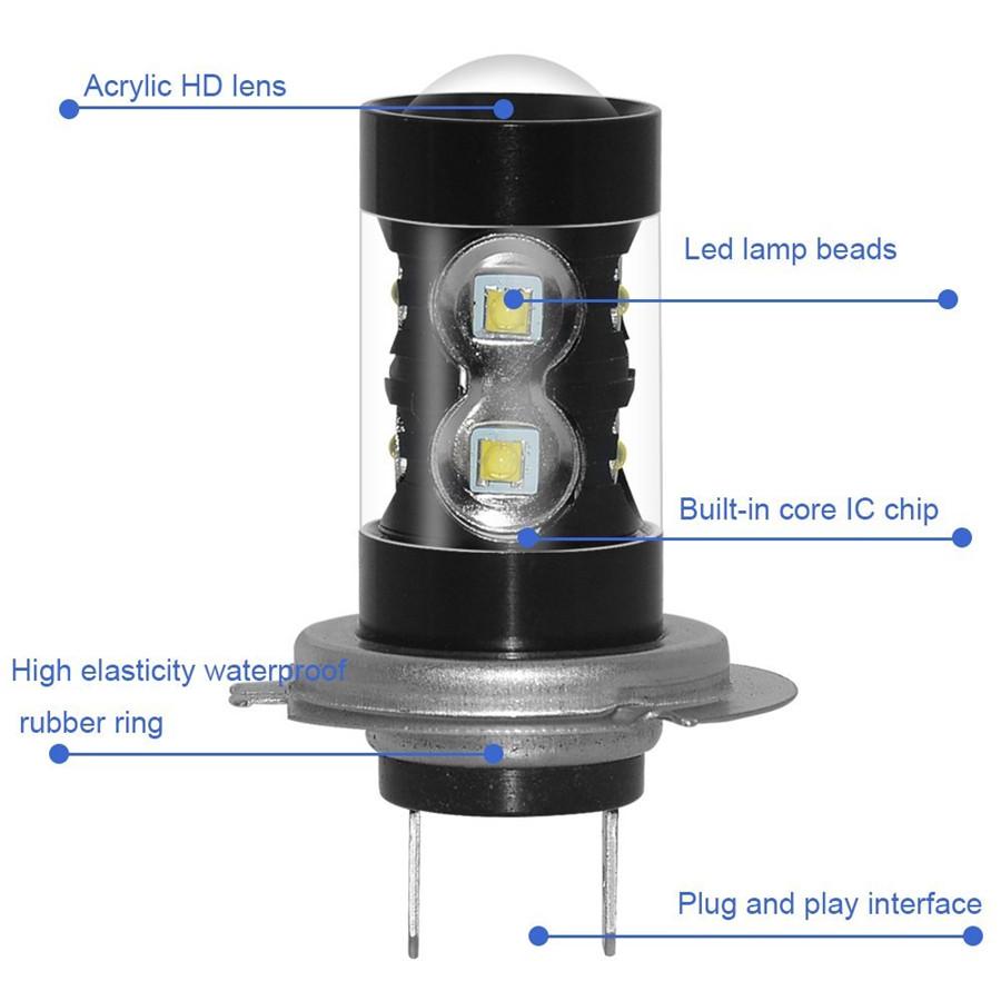 2 h7 led 50w 1400lm cree nebelscheinwerfer lampen 6000k. Black Bedroom Furniture Sets. Home Design Ideas