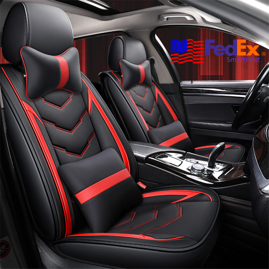 5 Seats Sedan Car Seat Bench Cover Pillows Black Red Pu Leather